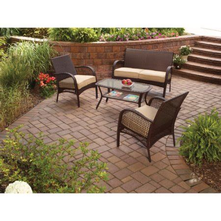 Wicker Patio Set Walmart by Mainstays Wicker 4 Patio Conversation Set Seats 4