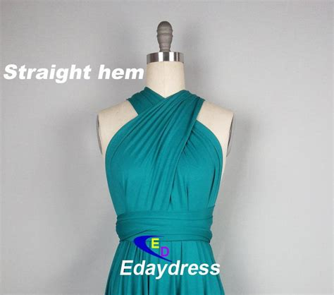 infinity dress teal wedding bridesmaid wrap convertible straight hem knee tea length silver bridesmaid dress