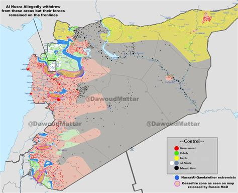 syrian war map complete battle map of syria and implemented ceasefire zones