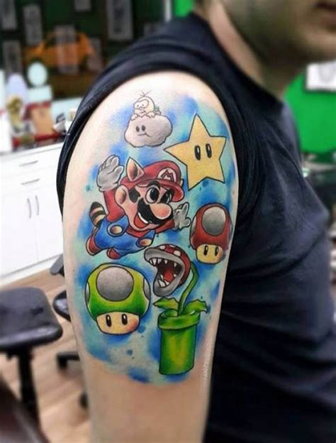 super smash bros tattoo mario bros on right half sleeve