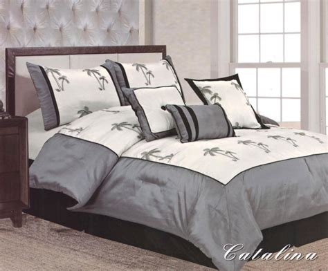 palm tree comforter set 7 pieces queen size comforter set catalina palm tree grey