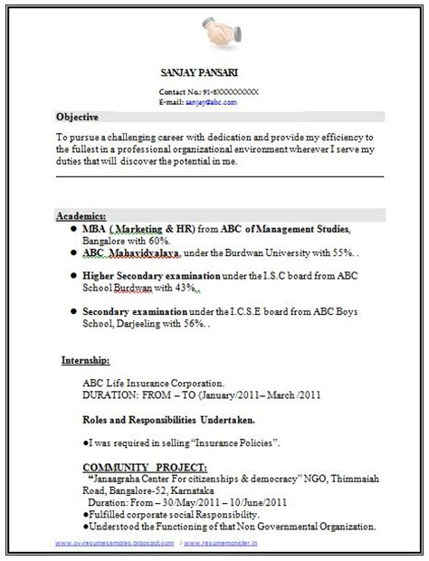 Resume Words Experience sle template of excellent fresher or experience resume