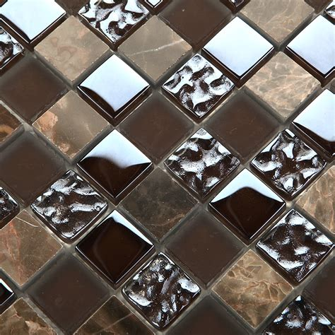 emperador dark mosaic tiles kitchen backsplash natural stone marble glass tile bathroom walls