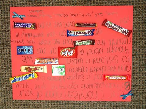 make bake and love happy new home gift idea happy birthday homemade candy bar poster card gifts