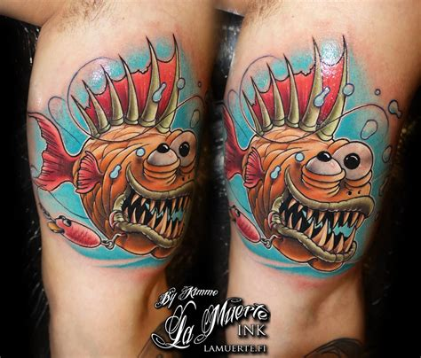 piranha tattoo designs badass new school tattoos search