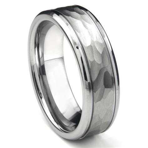 tungsten carbide hammer finish wedding band ring w grooves