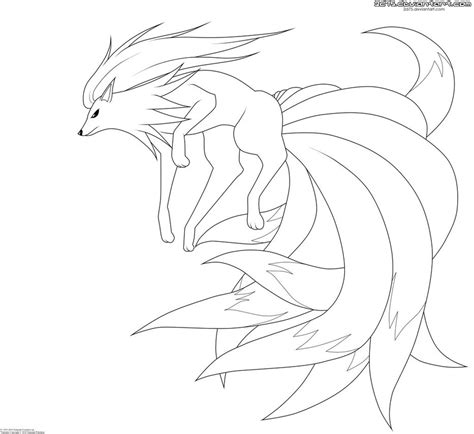 pokemon coloring pages ninetales ninetales lineart by moxie2d on deviantart