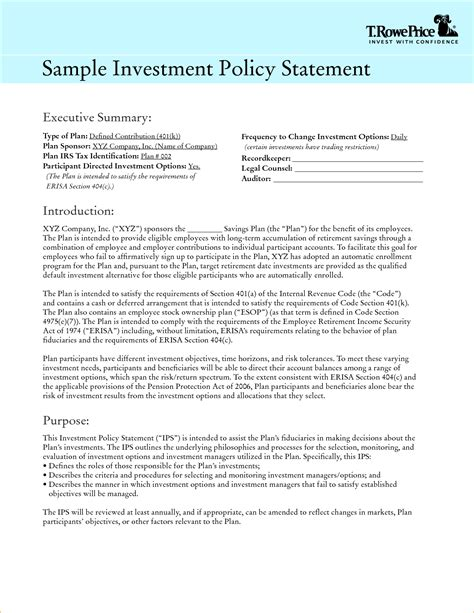 investment policy statement template template design