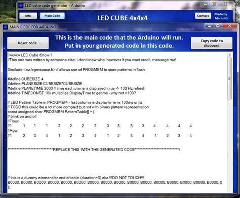 arduino code generator led cube code generator 4x4x4 arduino 1