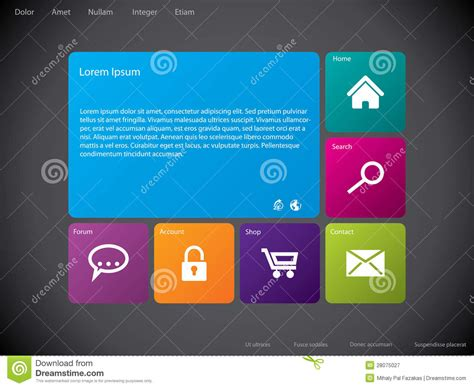 Cool New Site Outblush by Cool New Web Template With Large Icons Royalty Free Stock