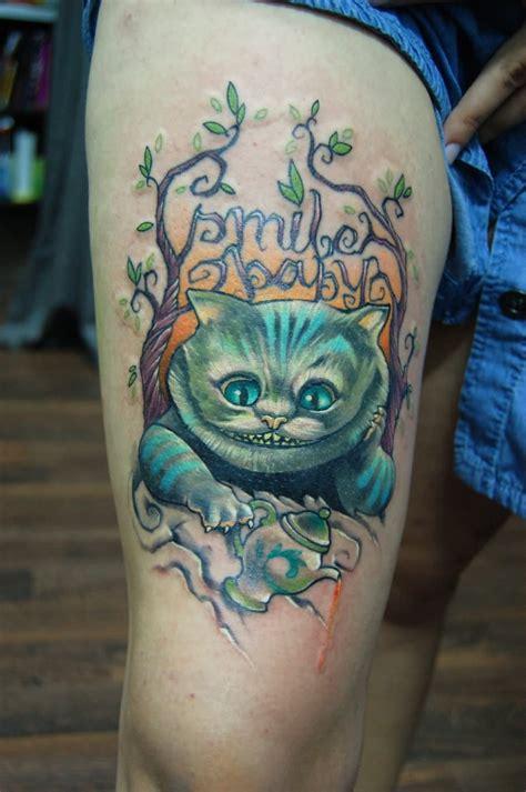 cheshire tattoo cheshire cat on right foot