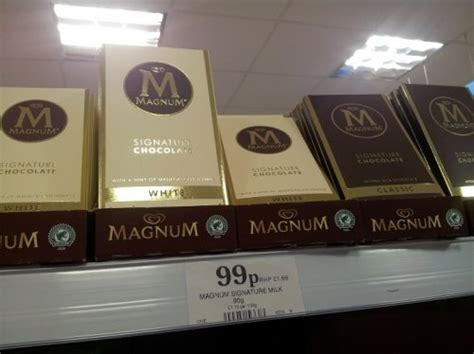 Magnum Signature Chocolate 90gr magnum signature milk chocolate 90g bar 99p at home bargains white classic hotukdeals