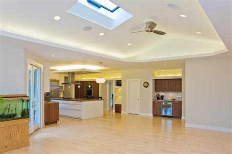 what is a vaulted ceiling family room w vaulted ceiling skylight opens to kitchen