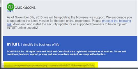 Email Virus Alert Intuit Quickbooks Update Links To Malicious Zip Spam Warning Email Template