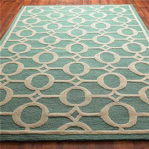 Indoor Outdoor Carved Ellipse Rug Crisp Aqua And Cream Modern Indoor Outdoor Rugs