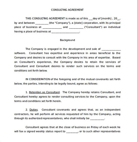 consulting contract template free 9 consulting agreement template