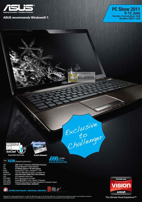 Asus Laptop Singapore Challenger asus challenger notebook x52n amd pc show 2011 price list brochure flyer image
