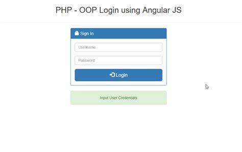 tutorial javascript login php oop login using angular js free source code