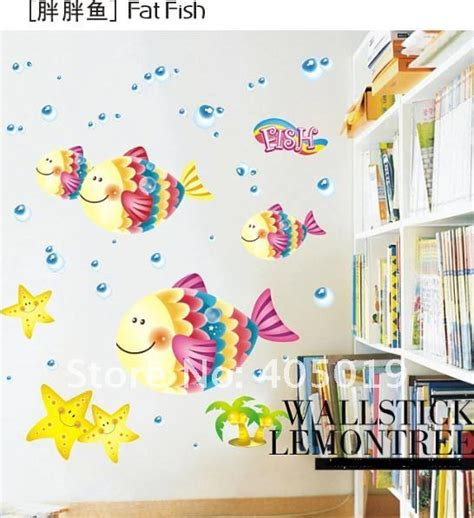 daycare wall decorations ld631 fish wall sticker transparent removable child