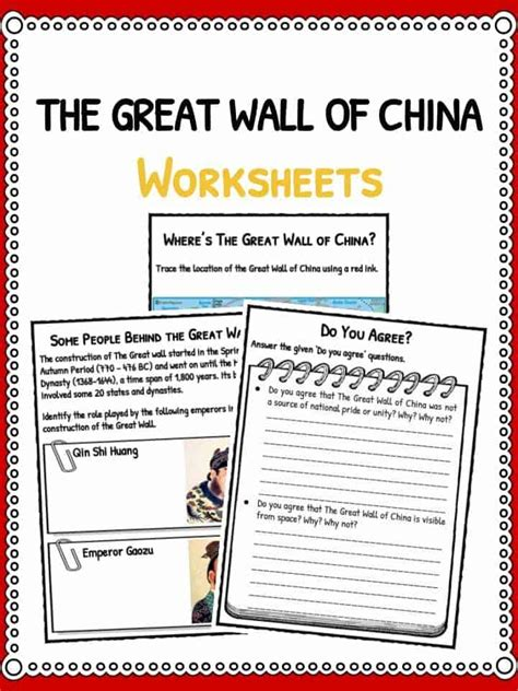 The Great Wall Of China Worksheet Answers the great wall of china facts worksheets timeline for