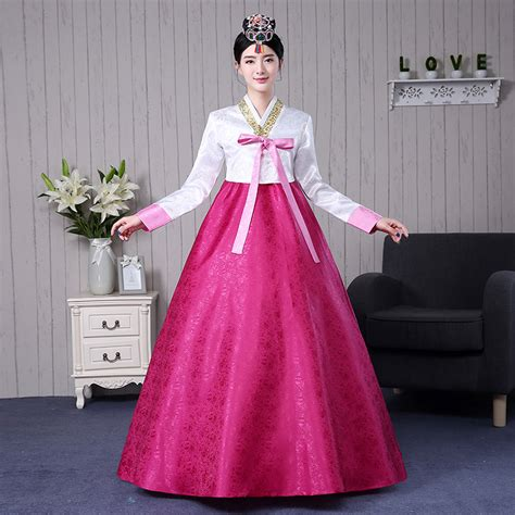 Hanbok Import Korea Free Sokchima 36 7 colors korean traditional clothing cotton hanbok korean costumes asian style dresses