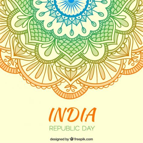 indian ornaments colors ornaments india republic day background vector