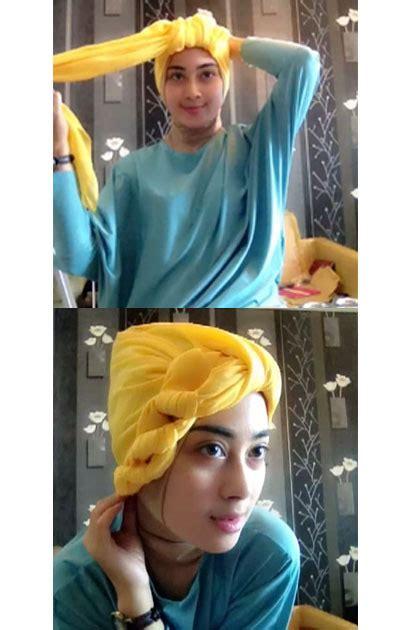 tutorial hijab turban unik tutorial hijab turban menggunakan scarf segiempat miulan