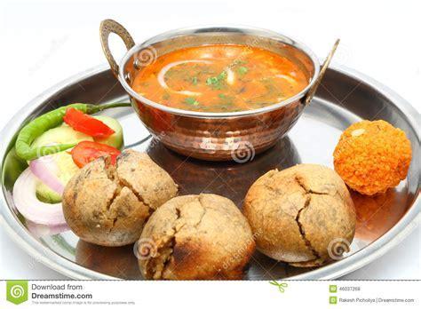 Indian Rajasthani Traditional Dal Bati Thali Stock Photo