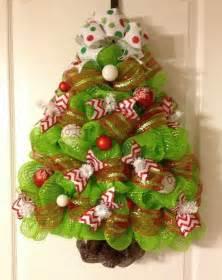 red green white chevron polka dot christmas tree deco mesh