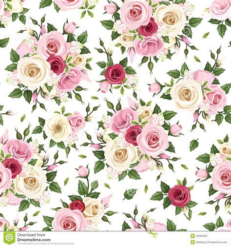 seamless pattern with red pink and white roses vector