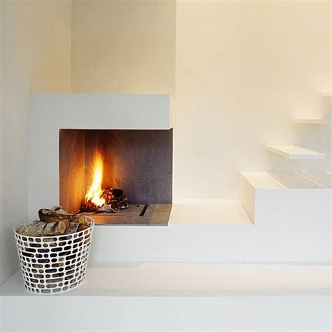 minimalist fireplace minimalist fireplace beside the floating stairs dream house