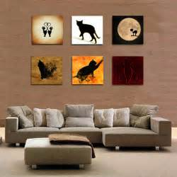 cat home decor cat 6 panel cat wall painting decoration animal wall art home