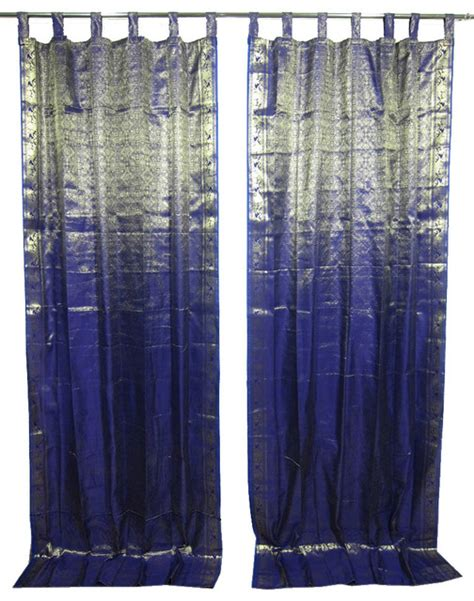 asian window curtains 2 sari curtains navy blue brocade silk sari window panels