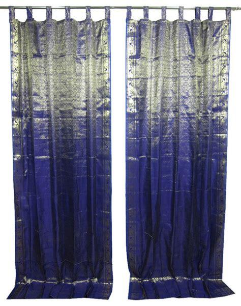 Asian Curtains Drapes 2 Sari Curtains Navy Blue Brocade Silk Sari Window Panels Drapes Curtain Window Asian Curtains