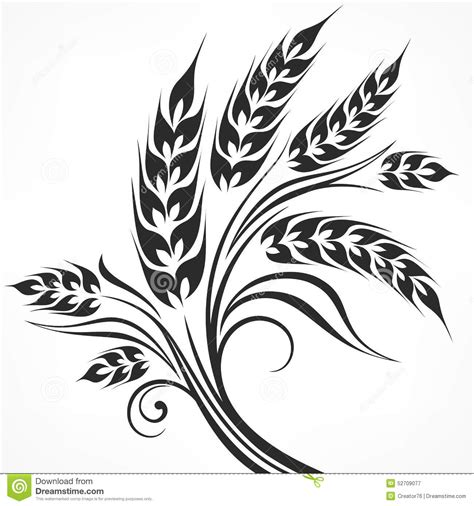 stylized ears of wheat in black stock vector image 52709077