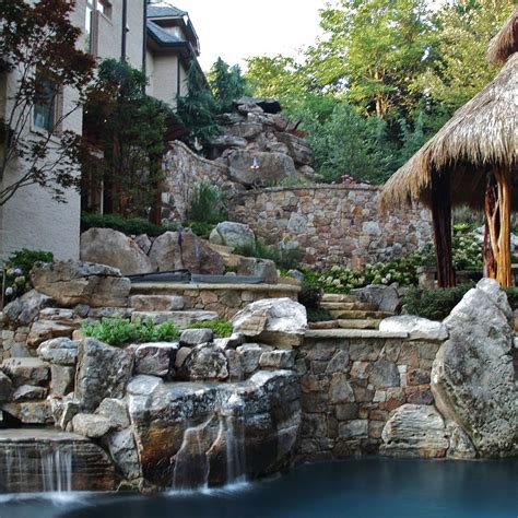 Designs For Outdoor Kitchens Thatched Roof Tiki Bar Swimming Pool Amp Custom Stone Work