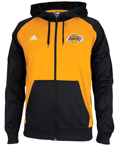 Zipper Hoodie Adidas Original Gold Logo Anime adidas s los angeles lakers pre zip hoodie in black for lyst