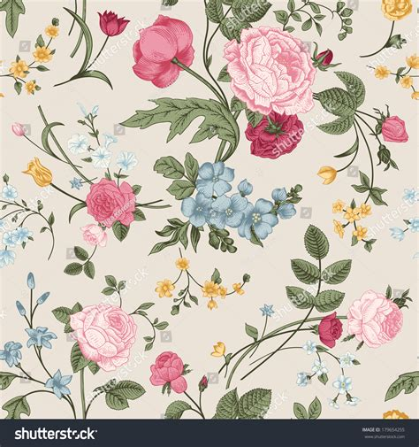 colorful victorian wallpaper seamless vector pattern victorian bouquet colorful stock