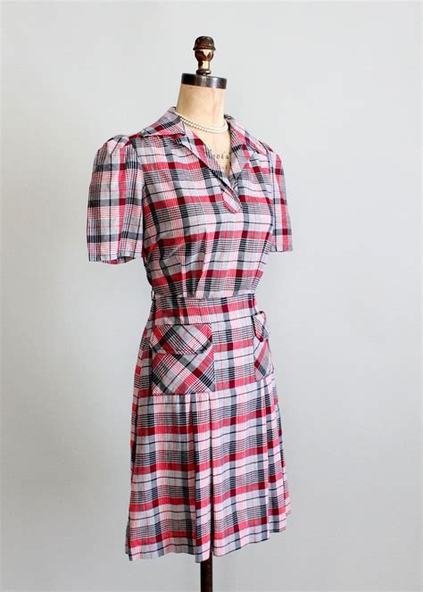 1930s swing fashion vintage 1930s cotton plaid swing dress raleigh vintage