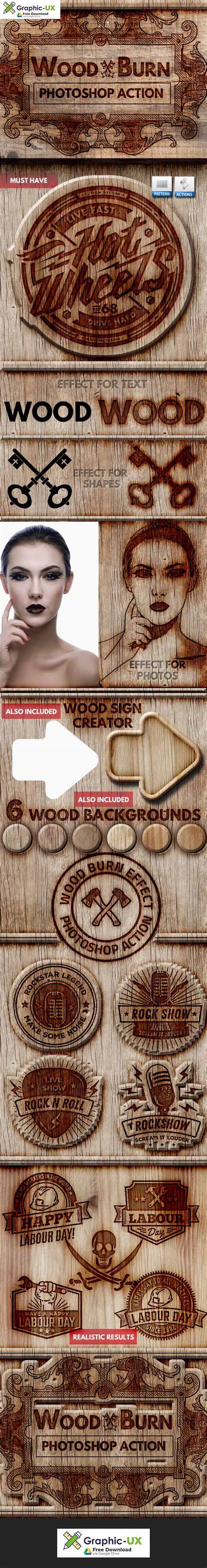 wood burn effect photoshop action  graphicux
