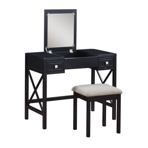 Vanity Stool Black by Two Vanity Sets