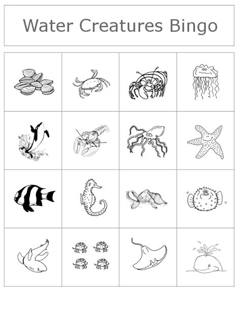 printable ocean animal cards clubhouse academy free bingo game water creatures