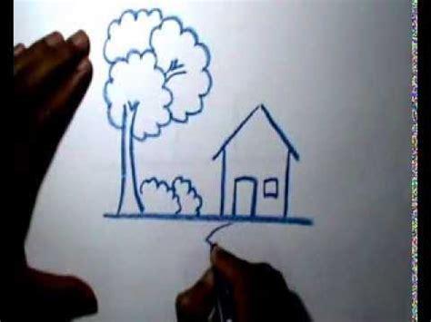 belajar menggambar rumah  crayon youtube