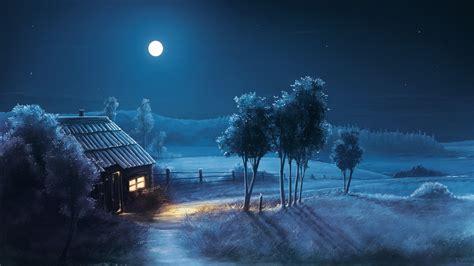 night moon house path field tree beautiful