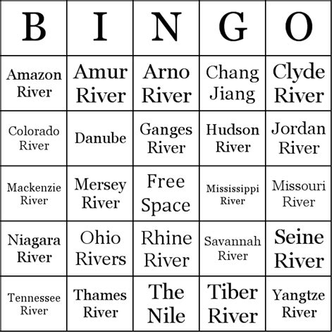 names of rivers famous rivers bingo cards
