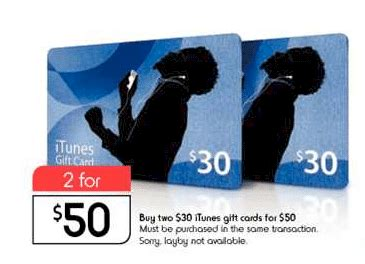 Kmart Itunes Gift Card - update 2 x 30 itunes gift cards for 50 at kmart gift cards on sale