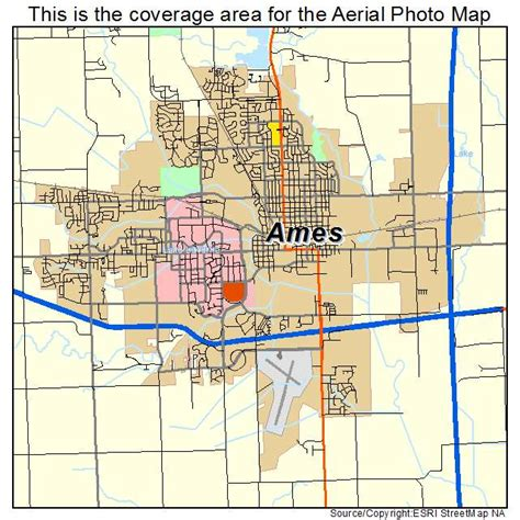 aerial photography map of ames ia iowa