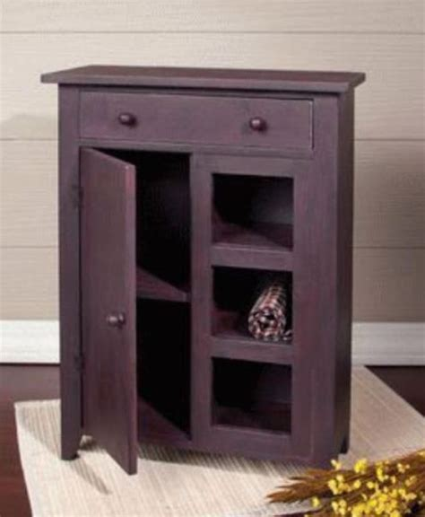 Small Armoire With Shelves Primitive Small Cabinet Door Drawer Open Shelves Rust