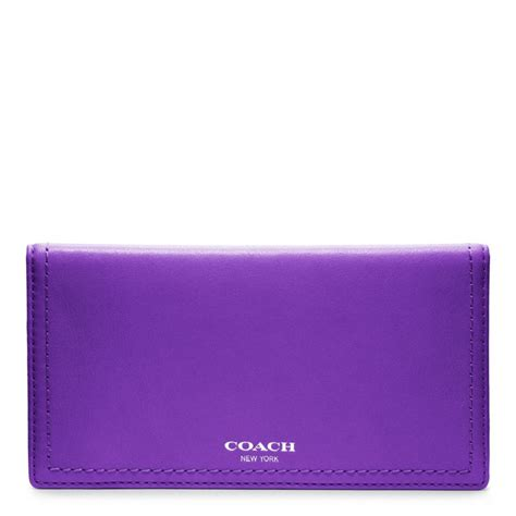 Purple Accessories Purple Wallets Purple Belts Purple Gloves And More by Coach Legacy Leather Checkbook Cover In Purple Lyst