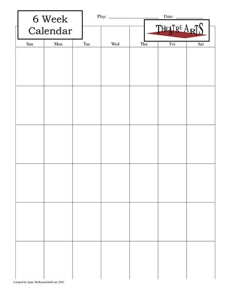 5 best images of 6 week blank calendar printable 6 week